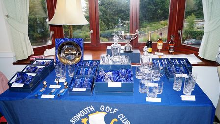The prize table at the Sidmouth Golf Club president Roger Bawden's President's Prize meeting. Pictur