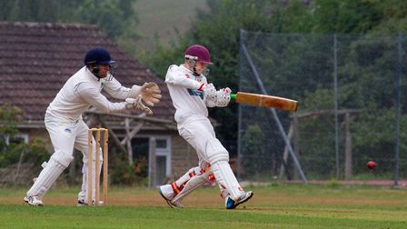 Elliott Rice batting for Sidmouth 2nds away at Kilmington. Ref shsp 33 18TI 9772. Picture: Terry Ife