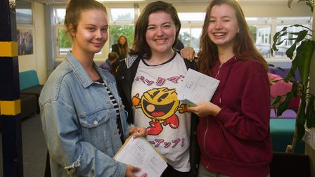 Alice Dell, Jess Gosling and Isabelle Reed with their A-level reuslts at Sidmouth College. Ref shs 3