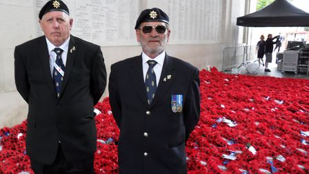 Terry Paltridge and John Hayes after the parade at the Menin Gate. Picture: Contributed