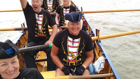 Sidmouth Smugglers at the start of the Great River Race in London. Picture CONTRIBUTED