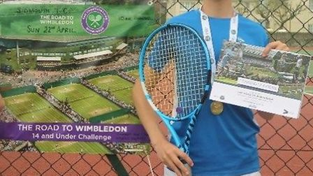 Sidmouth youngster Jed Ionov-Flint won the Sidmouth Boys Road to Wimbledon competition. Picture CON