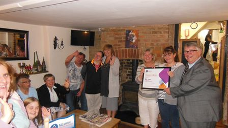 Members of Devon Link-Up with chair of trustees Julie Gilpin and Provincial Grand Master Ian Kingsbu