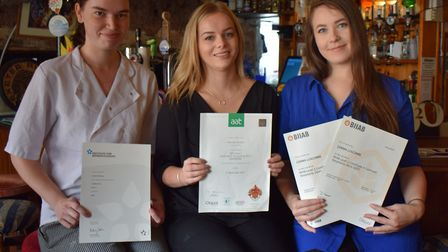L-R Charlotte Wills, Hannah Cureton and Gemma Luscombe from the Volunteer Inn. Picture: Contributed