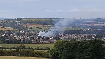 The fire that broke out above The Pine Shop, Ottery. Picture: Jeff Abbott