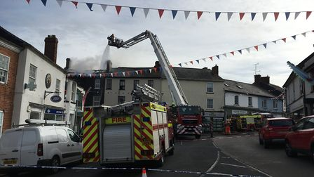 Fire crews tackling blaze in Ottery St Mary. Picture: Clarissa Place