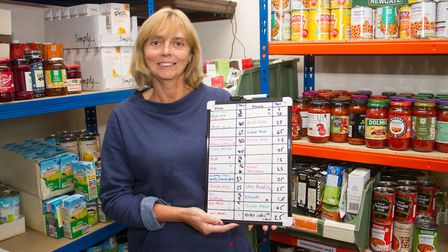 Andie Milne in Sidmouth Food Bank. Ref shs 37 18TI 1386. Picture: Terry Ife