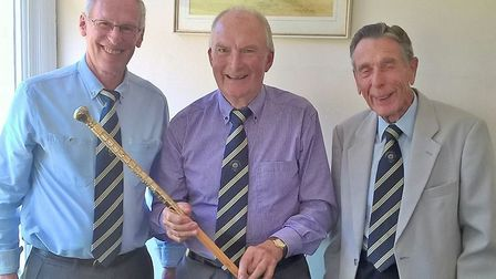 The presentation of the Sidmouth Walking Stick. Present captain Tony Stoyle (left) with winner Peter