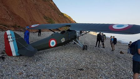 The light aircraft was forced to make an emergency landing on Jacobs Ladder beach at Sidmouth. Pictu
