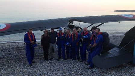The Beer Coastguard Rescue Team with the light aircraft that was forced to make an emergency landing