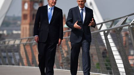 Britain's Conservative former prime minister John Major (L) and Labour former prime minister Tony Bl
