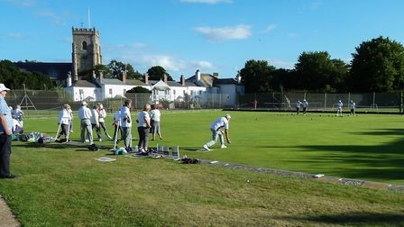 Action from a Sunset Bowls umbrella meeting at Sidmouth. Picture: CONTRIBUTED