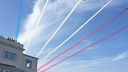 The Red Arrows in the sky above Sidmouth. Picture: Pamela Gordon-Lee
