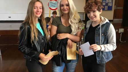 Jessica shackleford, mia collings and Jenny Cardwell get their grades. Picture: Beth Sharp