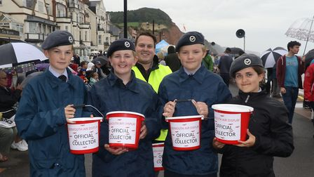 Some of the Sidmouth and Honiton Air Cadets helping with the collecting. Picture: Simon Horn