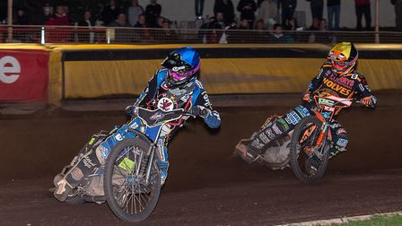 Somerset Rebels action from the meeting with Wolverhampton Wolves, Todd Kurtz leads Ashley Morris. P