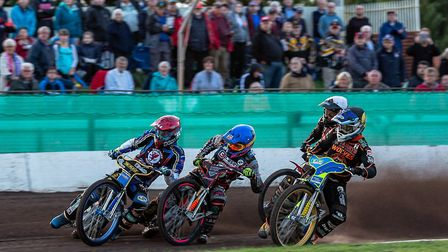 Somerset Rebels action from the meeting with Wolverhampton Wolves, Jason Doyle and Aaron Summers tak