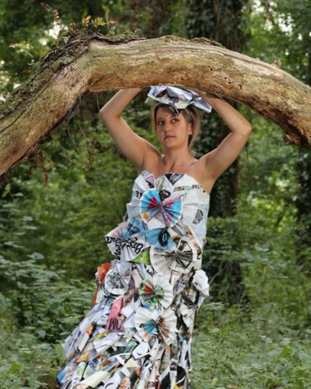 In the woods, Nicci models her first dress.Picture: Adrian Midgley