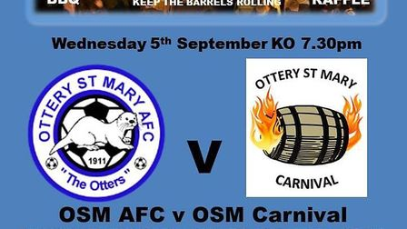 The match night poster for the big game being played on Wednesday night at Ottery St Mary FC. Pictur