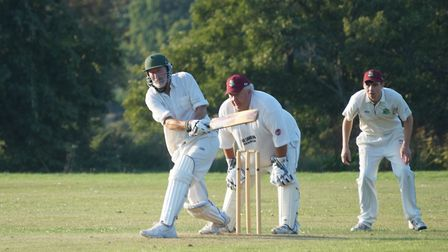 Roger Hunt batting for Tipton and Kenny Clay keeping wicket for Newton Poppleford. Picture PHIL WRIG