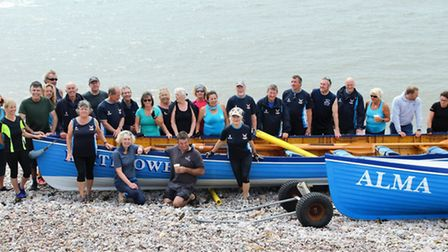 Sidmouth Gig Club crews on the beach prior to the club regatta, held last weekend. Picture CONTRIBUT