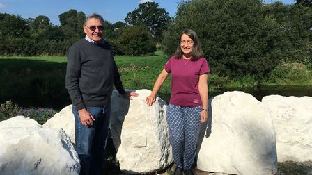 David Boyle and Mo Mylne from the Tipton Playing Field Association among the rocks that are being in