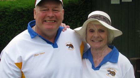 Kevin Vernon and Fenella Griggs, winners of the Ottery St Mary nominated mixed pairs. Picture: CONTR
