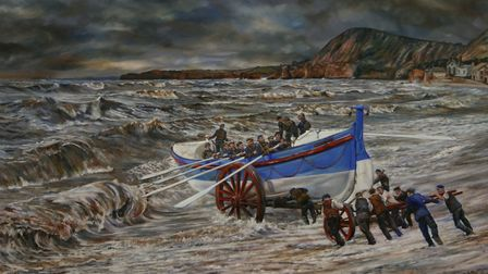 Peter Goodhall's painting of the lifeboat being launched. Picture: Contributed