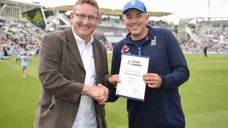 Steve Walker being presented with his award. Photo: GARETH COPLEY/GETTY IMAGES