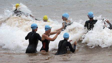 Action during The Great Sea Swim off Sidmouth. Picture SIMON HORN