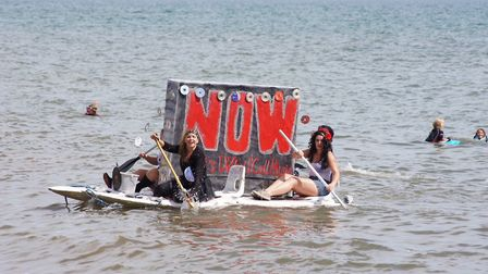 Now that's what I call a decorated raft at Beer Regatta. Picture: Fiona Gage