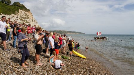 The raft race at Beer Regatta. Ref shb 33 18TI 0189. Picture: Terry Ife