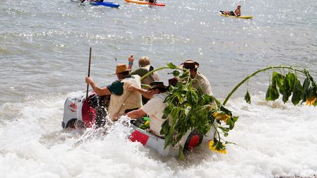 The raft race at Beer Regatta. Ref shb 33 18TI 0159. Picture: Terry Ife