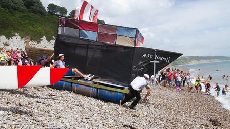 The raft race at Beer Regatta. Ref shb 33 18TI 0148. Picture: Terry Ife