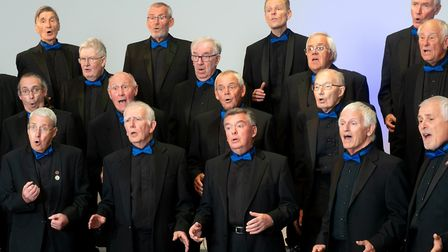 The Rivertones Harmony Chorus. Peter Stead, first from left in third row, and Brian Pankhurst, third