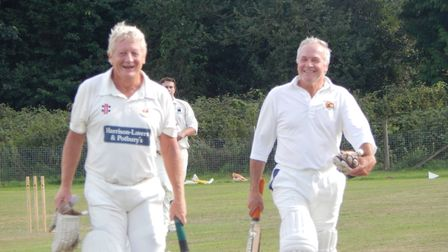 Sidmouth 3rd XI batsmen Graham Munday and Tim Drake after their fine partnership saw the team to max