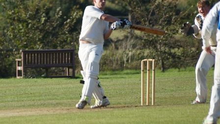 Alex Tubbs hits out during the Tipton match against Harberton. Picture: PHIL WRIGHT