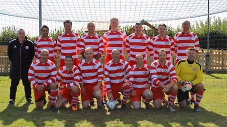 Sidmouth Town veterans before their 3-1 win over Beer Albion in the opening game of a new vets leagu
