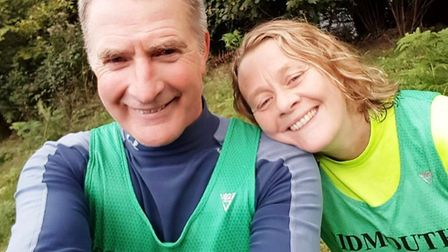 Sidmouth Running Club duo Don Cawthera and Debbie Marriott before setting off on the Bovey Beauty. P