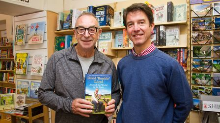 David 'Bumble' Lloyd book signing at Paragon Books in Sidmouth with owner Mark Chapman. Ref shs 41 1