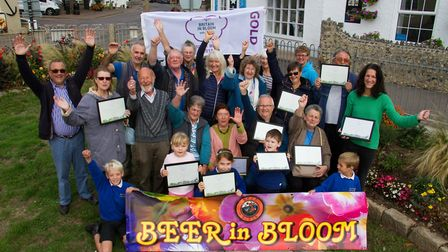 Beer in Bloom with their Gold Award. Ref shb 41 18TI 2213. Picture: Terry Ife