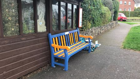 The new bench made from two old broken seats. Picture: Contributed