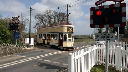 Seaton Tram at the Colyford crossing. Ref edr 36 18TI 8995. Picture: Terry Ife