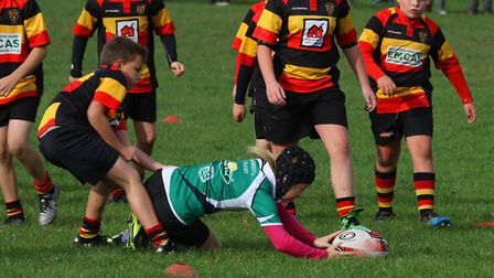 Action from the Sidmouth Undfer-9s visit to Honiton for a series of matches. Picture SIMON HORN