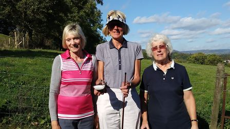 (Left to right) Sidmouth golfers Marian Andrews, Liz Chance and Susan Hackett at the Lady Captain's