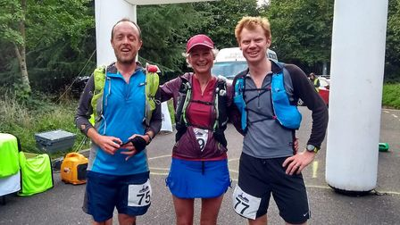 David Chipping with Nicky Spinks and Jim Forrer at the finish line of the Drogo Ultra meeting. Pictu