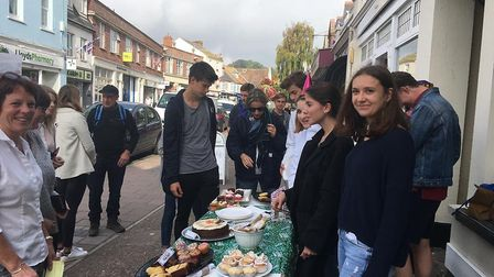Students took to the streets to raise money for cancer research. Picture: Sidmouth International Sch
