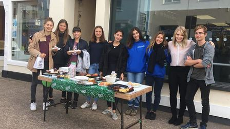 Students hit the streets to raise money for cancer research. Picture: Sidmouth International School