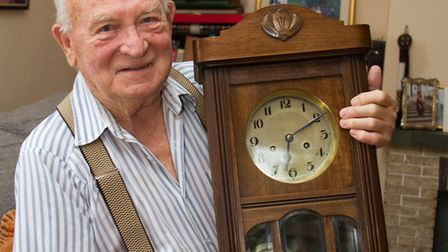 Don Ryan with his clock. Ref sho 38 18TI 1511. Picture: Terry Ife
