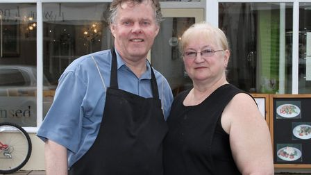 Steve and Lyn Clarke from The Rendezvous on Fore Street. Ref shs 4753-43-15SH. Picture: Simon Horn